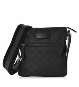 Gucci GG Monogram Small Nylon Crossbody Messenger Black Bag