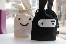 Cute Lunch Picnic Tote Travel Gift Bag Drawstring Pouch Cosmetic Makeup Rabbit