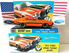Hot Wheels 1972 FORD GRAN TORINO SPORT Diecast Model Car in Custom Box & Display