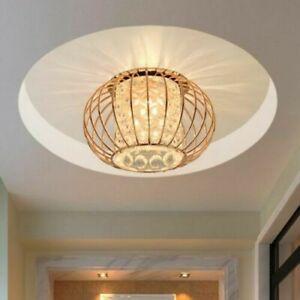 Cylindrical Bubble Glass LED Flushmount Ceiling Light Rose Gold Cage 110-120V