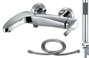 Wall Mounted Chrome Bath & Shower Mixer Tap with Shower Head & 1.5m Hose Spree 4