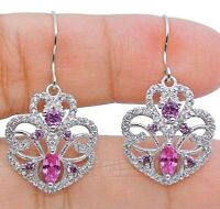 2CT Pink Sapphire & White Topaz 925 Solid Sterling Silver Earrings Jewelry, X1