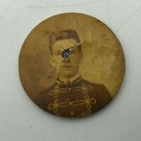 "Antique Original 1-1/4"" Soldier Pinback Button Missing Pin Rough Vintage   M6"