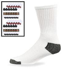 12 Pairs Mens Sports Crew Socks Cotton Calf Cushioned Athletics White Size 10-13