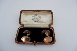 ART DECO PERIOD 9CT ROSE GOLD CUFFLINKS - C1923, 7.53 GRAMS, FITTED BOX