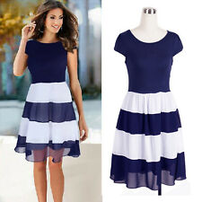 New Women Summer Short Sleeve Casual Chiffon Cocktail Party Evening Mini Dress s