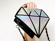 Diamond Hologram Silver Metallic Harajuku Kawaii Crossbody Bag Handbag Purse