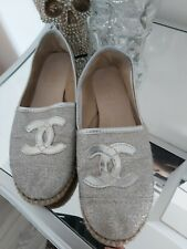 Chanel vintage espadrille Flat silver women's shoes size 37  / 4