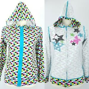 Reversible Checkerboard Squares & Stars Lightweight Cotton Hoodie Jacket Small