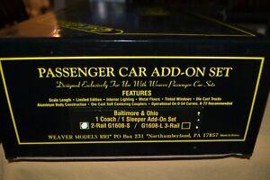 Weaver Aluminum Baltimore & Ohio Scale Coach & Sleeper 2-Car Add On Set G1608-S