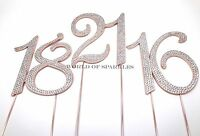 Diamante Rhinestone Cake Pick Topper Rose Gold Number Birthday Anniversary UK