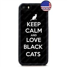 Keep Calm Love Black Cats Kitty New Case Cover iPhone Xs Max XR X 8 7 6 Plus 5 4