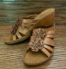 Hush Puppies Gallia Copacabana Brown Leather Slide Wedge Comfort Sandals Sz 9