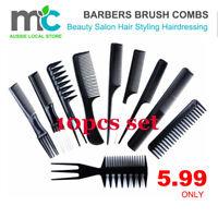 10Pcs/Set Beauty Salon Hair Styling Hairdressing Plastic Barbers Brush Combs Set