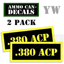 380 ACP Ammo Can Box Decal Sticker bullet ARMY Gun safety Hunting 2 pack YW