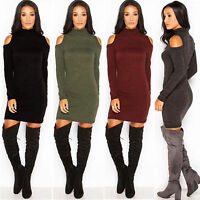 Women High Collar Cold Shoulder Sweater Knit Tops Slim Mini Dress Ske15