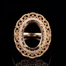 Natural Diamond Semi Mount Ring Settings Oval Cabochon 10x14mm 14K Yellow Gold