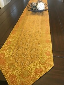 Table Runner/wall Tapestry, Brocade 80 Inches, Art Silk, beautiful, formal, Gold