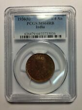 PCGS-MS64RB 1936(B) BRITISH INDIA 1/4 ANNA RED BROWN