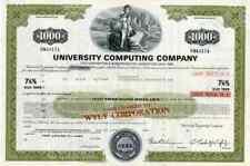 1974 University Computing Co Stock Certificate