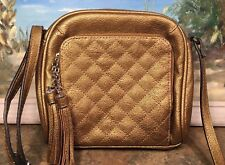 Jessica Simpson Metallic Gold Crossbody Strap Tassels