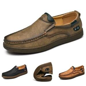 Mens Leisure Leather Shoes Driving Moccasins Slip on Loafers Flats Soft Comfy Sz