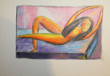 European abstract modernist pastels drawing nude portrait signed