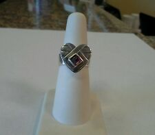 Retired Mignon Faget Sterling Silver Bleeding Heart Ring with Garnet
