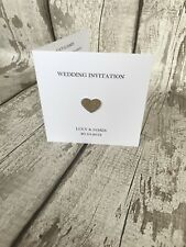 10 Simple Elegant Wedding Invitations with Glitter Heart, Any Colour!