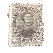 CANADA, SCOTT # 17b, 10c. VALUE BROWN PRINCE ALBERT 1859 ISSUE USED