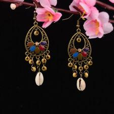 Retro Women Bohemian Tassel Beads Shell Hook Water Drop Hollow Dangle Earrings