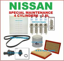 FOR 02-06 NISSAN ALTIMA & SENTRA 2.5L TUNE UP KITS: SPARK PLUGS, BELT & FILTERS