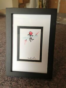 Katie Cook Darth Maul Star Wars Original Art Card Ink and Watercolor Framed HTF