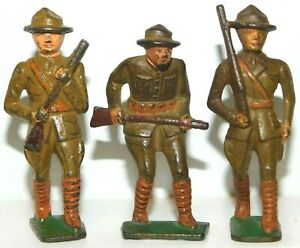 Old GREY IRON 1930s Dimestore Soldiers, 3 Men Advancing w/Rifles, G10, G11, G24