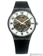 New Swatch Originals Skeletor Black Silicone Band Men Watch 41mm SUOB134 $80