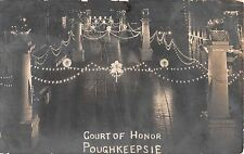 c.1910 RPPC Market St. Court of Honor at Night Poughkeepsie NY Dutchess County