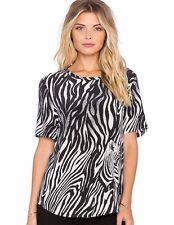Equipment SZX Riley Zebra Print Short Sleeve Silk Tee Marshmallow black b5c4bd72c
