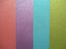 4 Sheets A4 Premium Glitter Card - Pink , Purple , Blue & Green