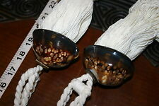 6 Brown Snake Head Cowry South Pacific Seashell Tassels Designer Unique Decor -