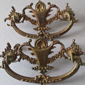 Pr Antique Cast Bronze Drawer Pulls SHELLS Flower SWAGS * Grand Rapids Brass Co