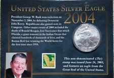 united states silver eagle and stamp set w/coa