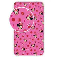 Disney Minnie Mouse heart SINGLE FITTED BED SHEET 90x200cm 100% COTTON pink