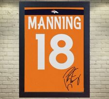 Peyton Manning Denver Broncos NFL signed t-shirt CANVAS 100% COTTON FRAMED