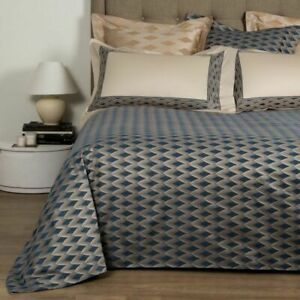 FRETTE Tattoo Diamond King Duvet Cover Blue - 100% Cotton Sateen Jacquard Italy