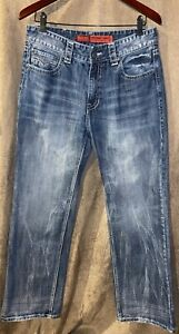 "Mens Rock & Roll Western Cowboy ""Double Barrel"" Straight Leg Relaxed Jeans 33x32"