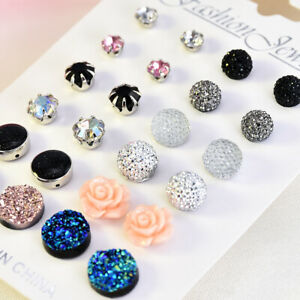 12 Pairs Assorted Women Crystals Druzy Stone Resin Stone Round Stud Earrings Set