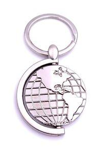 Globus Erde Weltkugel Schlüsselanhänger Keychain Silber Metall