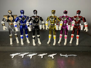 Mighty Morphin Power Rangers 5.5 inch Metallic Armor action figure full set