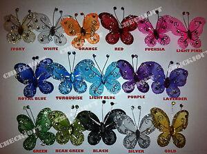 "10 PCS 5""  -  Organza Tulle Butterflies Craft Wedding Party Flora DIY Decoration"