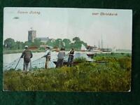 Salmon Fishing Near Christchurch (Priory) Hampshire 1905 Postcard